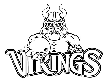 A Viking warrior gladiator bowling sports mascot Illustration