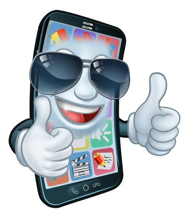 A mobile phone cartoon character mascot wearing cool shades or sunglasses giving a double thumbs up. 일러스트