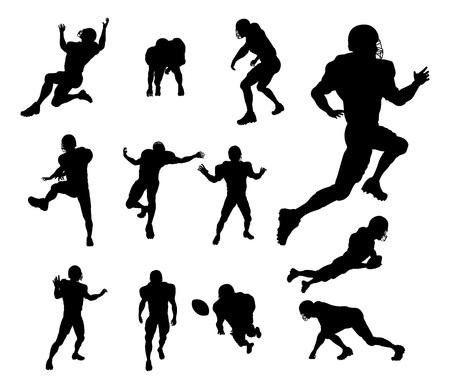 Un conjunto de silueta detallada de jugadores de fútbol americano en muchas poses diferentes Ilustración de vector