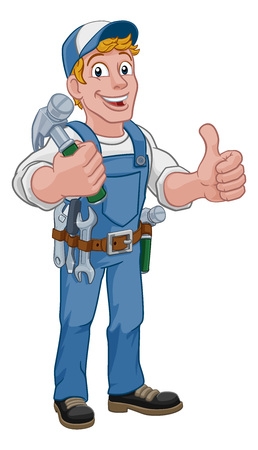 A handyman carpenter or builder cartoon man holding a hammer. Construction maintenance worker or DIY character mascot. Giving a thumbs up.