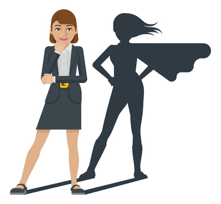 A young business woman revealed as super hero by her superhero silhouette shadow