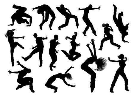 A set of men and women street dance hip hop dancers in silhouette