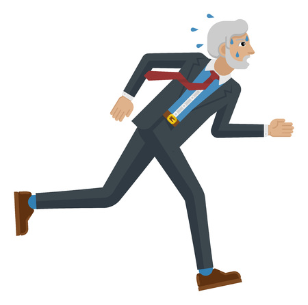A stressed and tired looking mature businessman running as fast as he can to keep up with his workload or compete. Business concept illustration in flat modern cartoon style Foto de archivo - 121753439