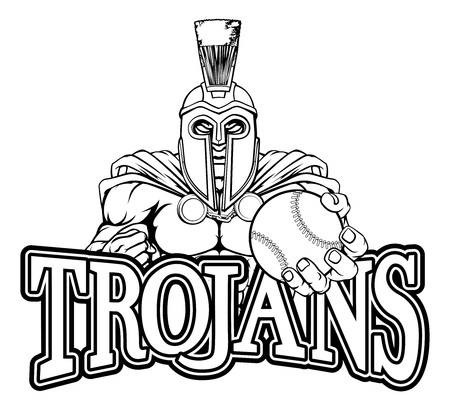 Spartan Trojan Baseball Sports Mascot Illustration