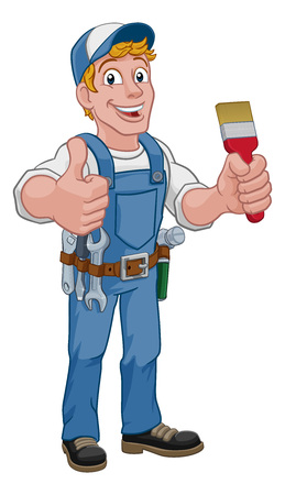 Painter Decorator Paintbrush Handyman Cartoon Man