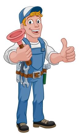 Mascota de dibujos animados de fontanero o manitas sosteniendo un desagüe de plomería o desatascador. Ilustración de vector