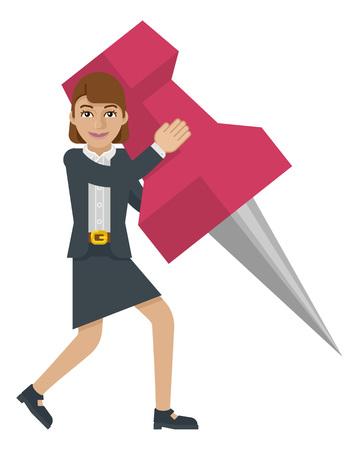 Business Woman Holding Thumb Tack Pin Mascot 일러스트
