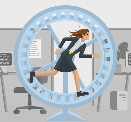Una donna d'affari dall'aspetto stressato e stanco in un ufficio che corre il più velocemente possibile nella ruota del criceto per stare al passo con il suo carico di lavoro o competere. Illustrazione di concetto di affari in stile cartone animato moderno piatto