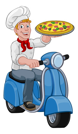 Pizza Delivery Chef Scooter Moped Cartoon Man Vector Illustratie