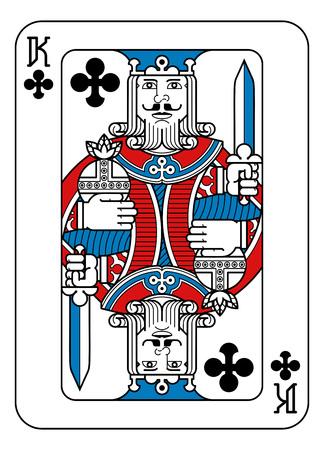 Ein Spielkartenkönig der Clubs in Rot, Blau und Schwarz aus einem neuen modernen Original-Komplett-Full-Deck-Design. Standard-Pokergröße.