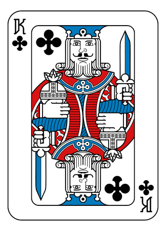 Una carta da gioco re di fiori in rosso, blu e nero da un nuovo e moderno design originale completo del mazzo. Dimensione standard del poker.