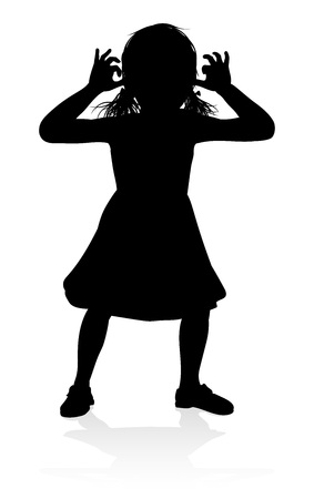 A high quality detailed silhouette of kid or child