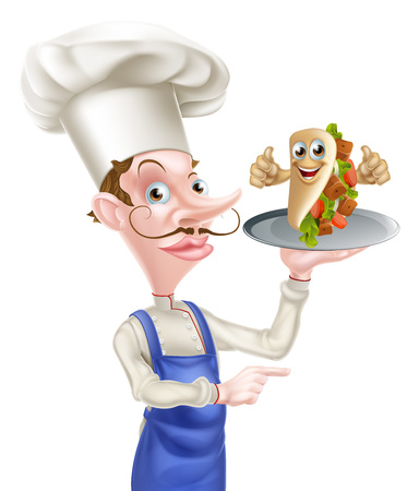 An Illustration of a Cartoon Chef Poiting with Kebab