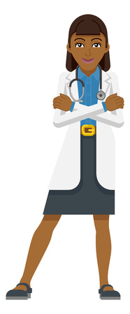Young Woman Medical Doctor Cartoon Mascot Vettoriali