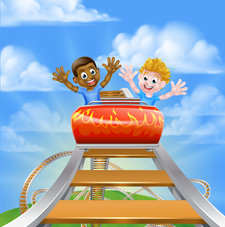 Cartoon boys children riding on a roller coaster ride at a theme park or amusement park Vectores