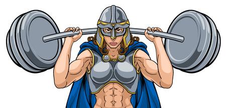 Mujer guerrera levantador de pesas levantamiento de pesas