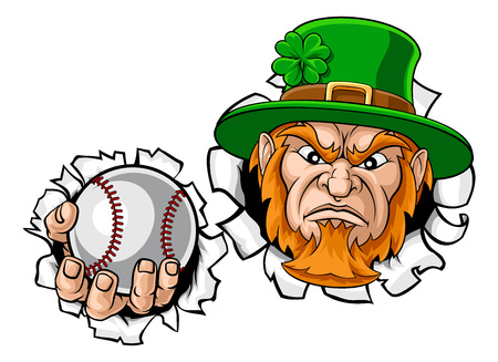 Leprechaun Baseball Mascot Ripping Background Illustration