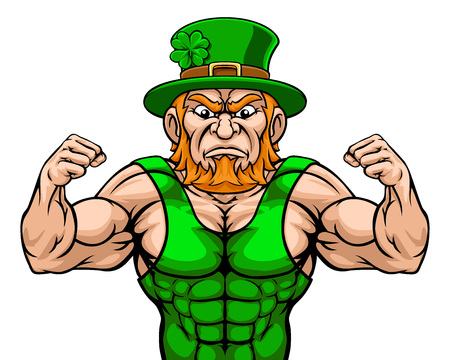Leprechaun Sports Mascot Cartoon Character Ilustrace