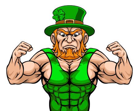 Leprechaun Sports Mascot Cartoon Character Illustration