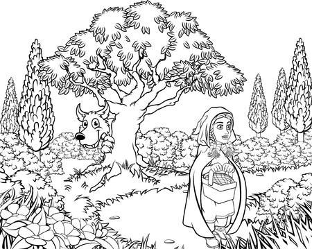 Märchenhafte Kindergeschichtenszene der großen bösen Wolfszeichentrickfigur, die von hinter einem Baum schaut, während das kleine Rotkäppchen ihren Korb hält und zum Haus der Absolventen geht.