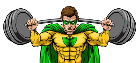 Superhero Mascot Weightlifter Lifting Big Barbell Illustration