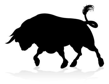 Bull Charging Silhouette Ilustrace