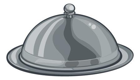 Silberteller Teller gewölbte Cloche Essen Cartoon