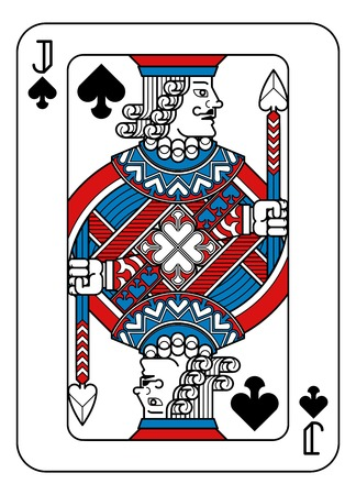 Playing Card Jack of Spades Red Blue and Black