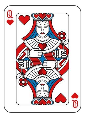 Naipes Reina de Corazones Rojo Azul y Negro Ilustración de vector