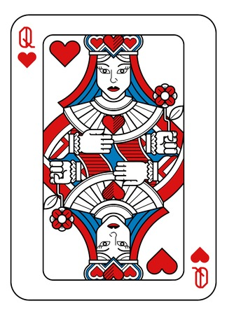 Playing Card Queen of Hearts Red Blue and Black