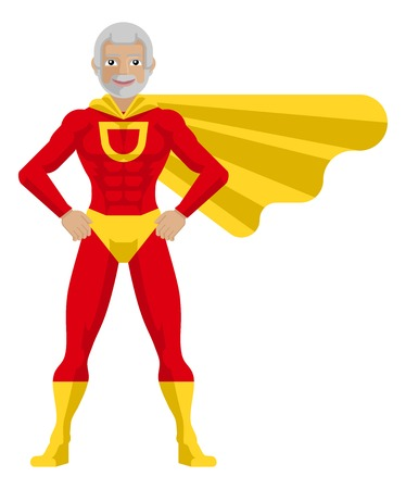 Superhero Mature Man Cartoon Illustration