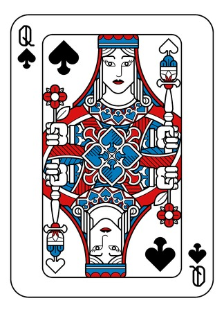 Playing Card Queen of Spades Red Blue and Black