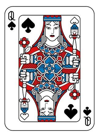 Spielkarte Pik-Dame Rot Blau und Schwarz