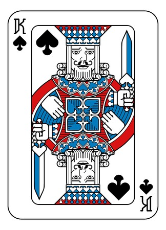 Playing Card King of Spades Red Blue and Black