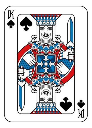 Spielkarte Pik-König Rot Blau und Schwarz