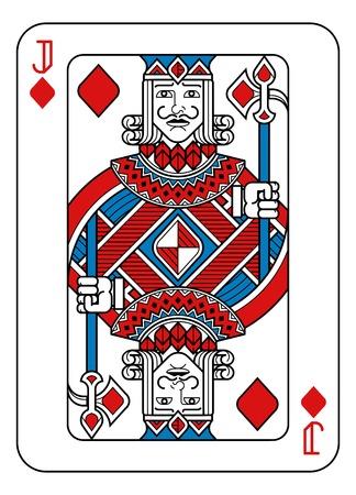 Carte à jouer valet de carreau rouge bleu et noir Vecteurs