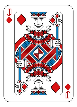 Playing Card Jack of Diamonds Red Blue and Black Ilustración de vector