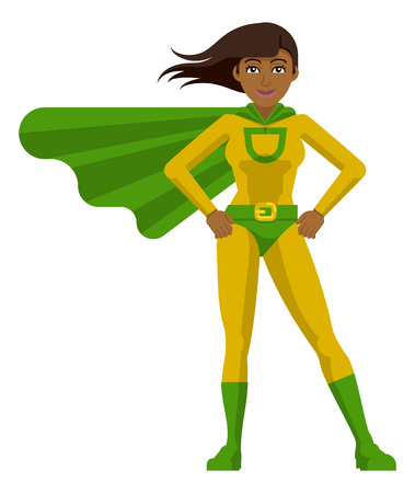Asian Super Hero Woman Cartoon Illustration