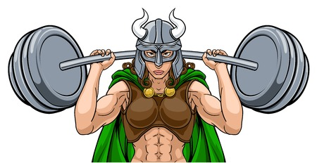 Mujer guerrera vikinga levantador de pesas barra de elevación