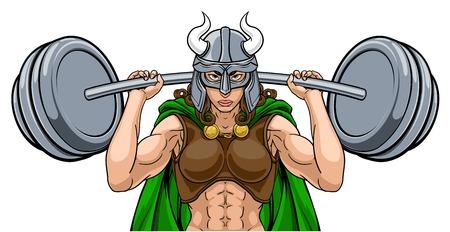 Viking Warrior Woman Weightlifter Lifting Barbell