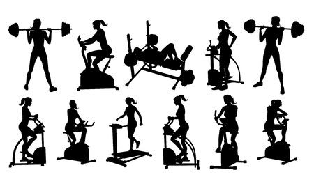 Gym Fitness Equipment Woman Silhouettes Set