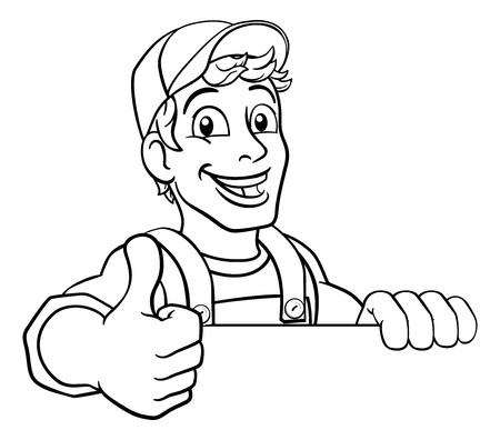 Handyman Cartoon Caretaker Construction Man Sign