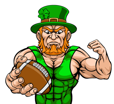Leprechaun Holding Football Ball Sports Mascot