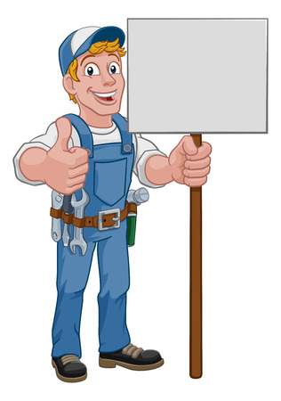 Handyman Cartoon Caretaker Construction Sign Man Illustration