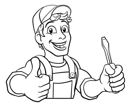 Electrician Cartoon Handyman Plumber Mechanic Ilustrace