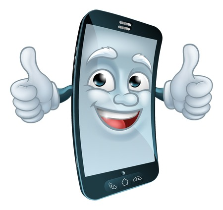 Mobile Cell Phone Mascot Cartoon Character 일러스트