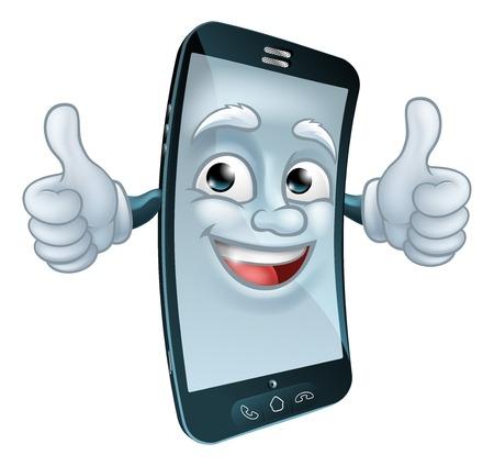 Personaje de dibujos animados de la mascota del teléfono celular móvil Ilustración de vector