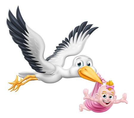 Cigüeña, caricatura, embarazo, mito, pájaro, con, bebé