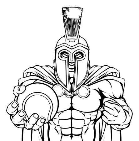 A Spartan or Trojan warrior Tennis sports mascot holding a ball