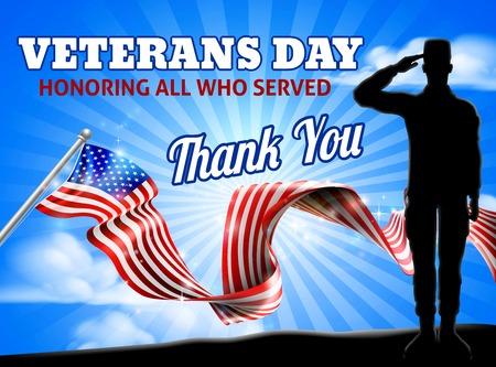 Día de los veteranos soldado de la bandera americana saludando